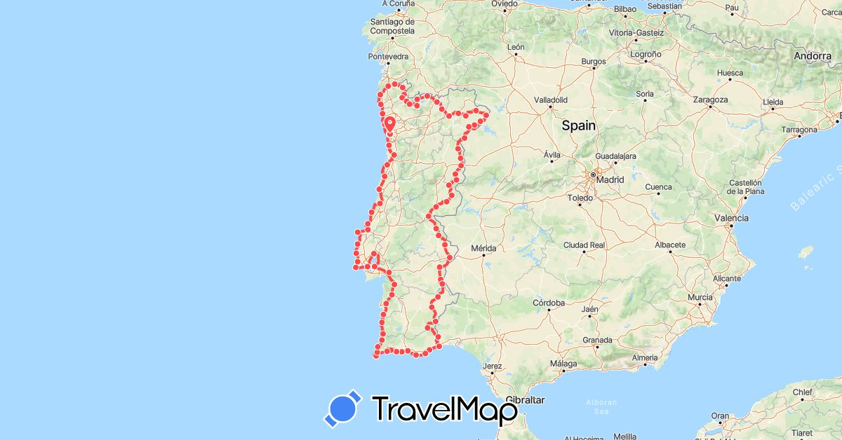TravelMap itinerary: hiking in Portugal (Europe)